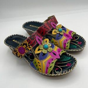 Socofy Bohemian leather hook loop forest sandal